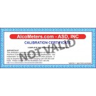 AlcoMate AccuCell AL9000 Breathalyzer Calibration Certificate