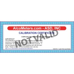 Breathalyzer Calibration Certificate